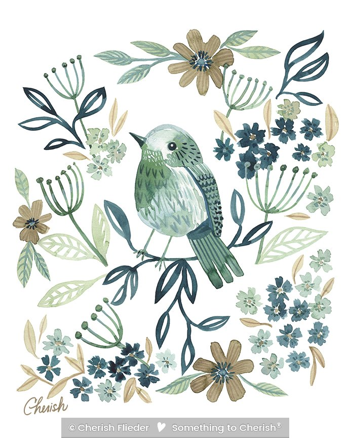 Birds C1713-02 Olive\'s Soft Landing © Cherish Flieder