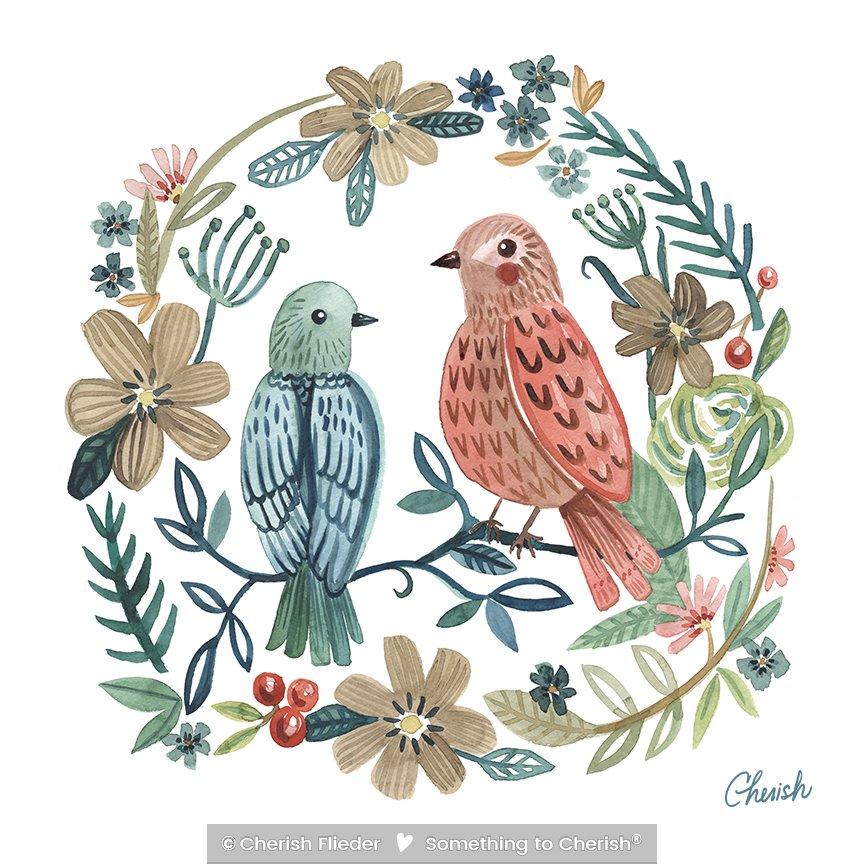 Birds C1713-03 Fred and Ginger\'s Soft Landing © Cherish Flieder