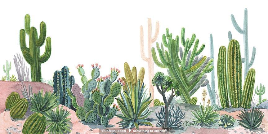 Desert C1709-01 Desert Cactus Landscape © Cherish Flieder