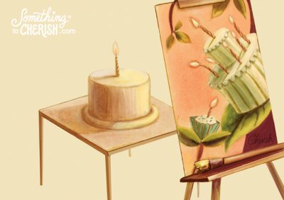 Paint your birthday cake and eat it too! Something to Cherish Illustration by Cherish Flieder