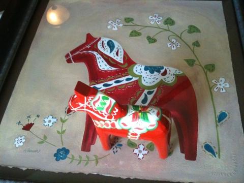dala horse artwork by cherish flieder inspired by sweden