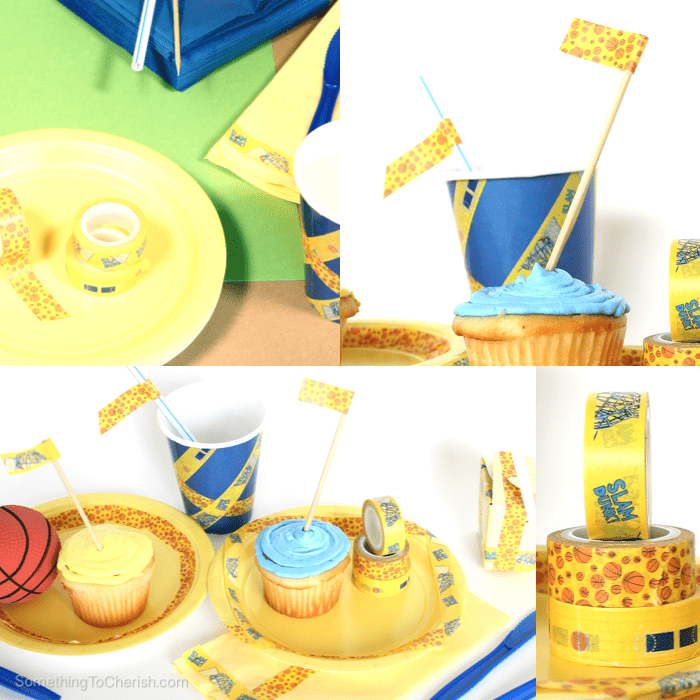 Basketball washi tape transforms party plates, napkins, and cups for game day!