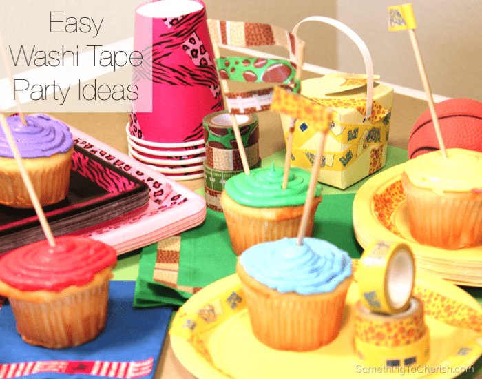 Easy party decoration ideas. Dress up plain paper party cups, plates, and napkins with decorative washi tape.