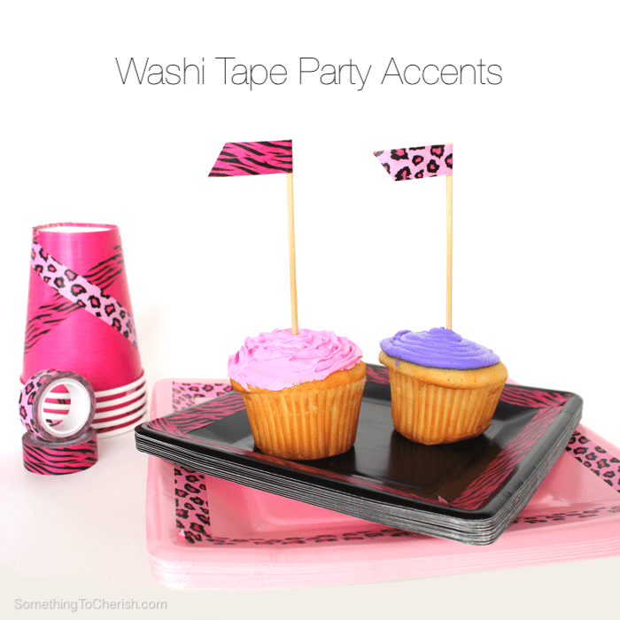 Girls go wild for these pink and purple animal print washi tape accented cupcakes and partyware!
