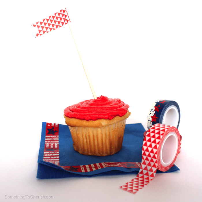 Celebrate the red, white, and blue with a little washi flag in your cupcake.