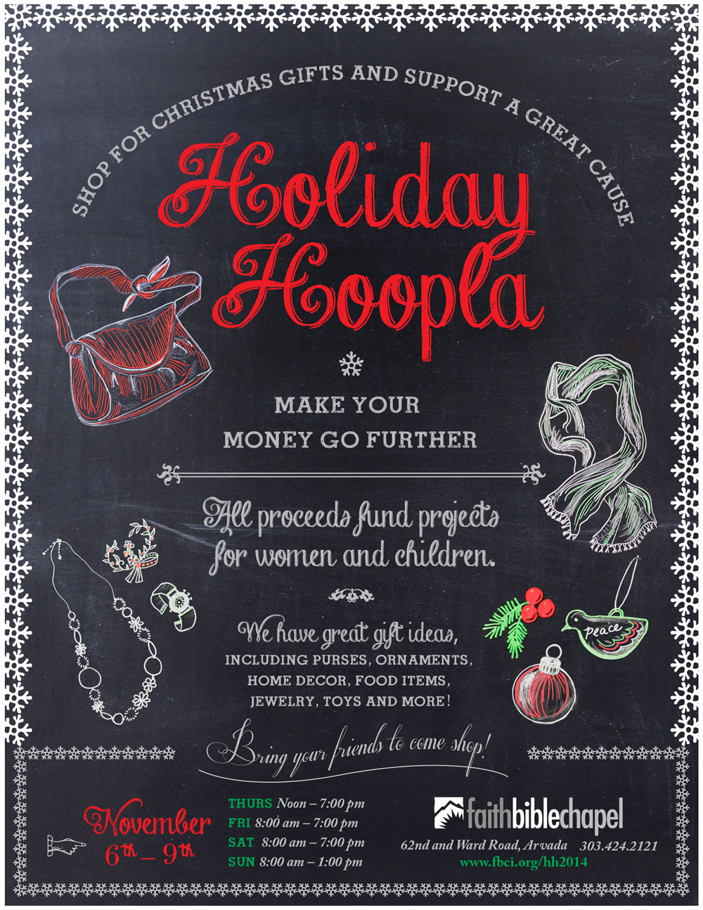 Flyer: Holiday Hoopla Chalk Art Campaign Illustrated and Designed by Cherish Flieder