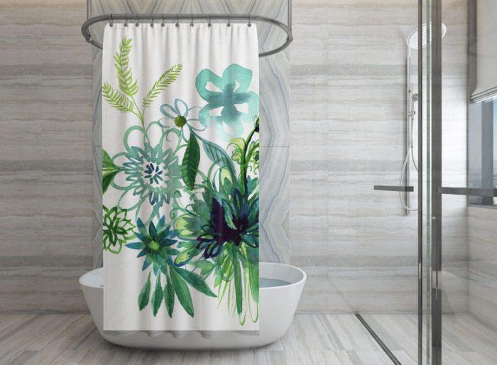 Aqua and Green Watercolor Flower Shower Curtain designed by Cherish Flieder - Something to Cherish